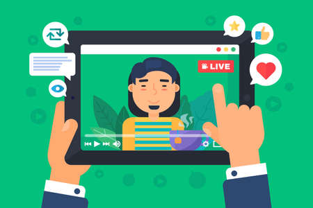 Asian male web streamer concept illustration. Indian guy vlogger recording online live stream. Tablet screen in hands semi flat cartoon drawing. Vector isolated color icon Ilustracja