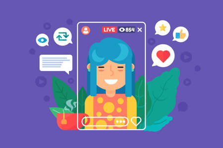 Asian girl vlogger flat color vector character. Chinese female streamer recording live stream. Online broadcast isolated cartoon illustration. Web graphic design on violet background