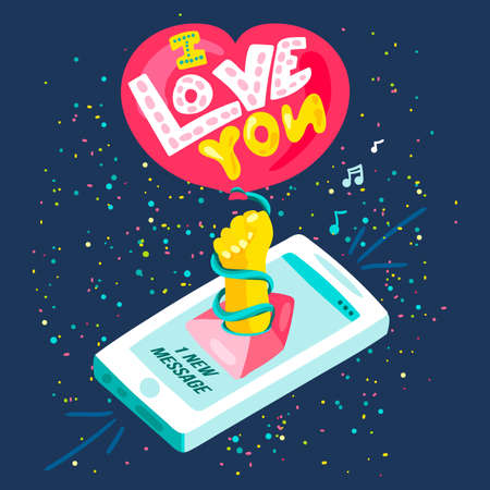 Love you isometric message from smartphone chat. Creative poster or card with 3d social media notification. Element for graphic or web design. Vector illustration
