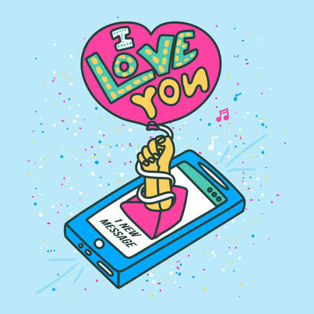 Creative love you message on isometric smartphone. Linear 3d phone with hand holding heart shaped air balloon. Love card or poster template. Vector illustration Ilustracja