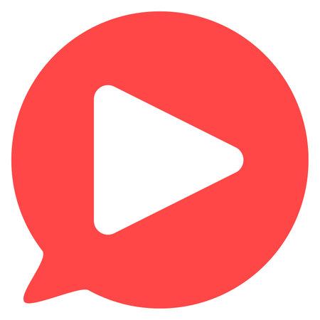 Play bubble button color icon Ilustracja