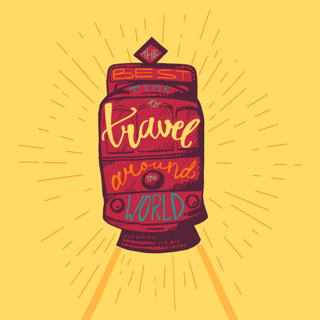 Travel around world lettering for poster or print