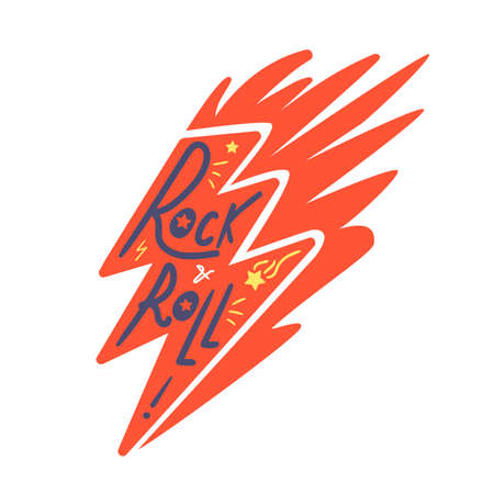 Rock and roll lightning print for t-shirt, poster 스톡 콘텐츠 - 163931654