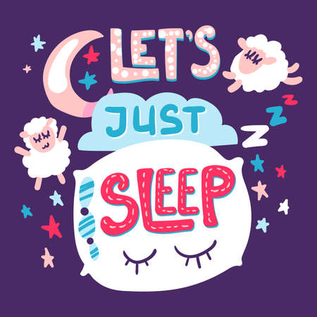 Lets sleep poster doodle and hand drawn design