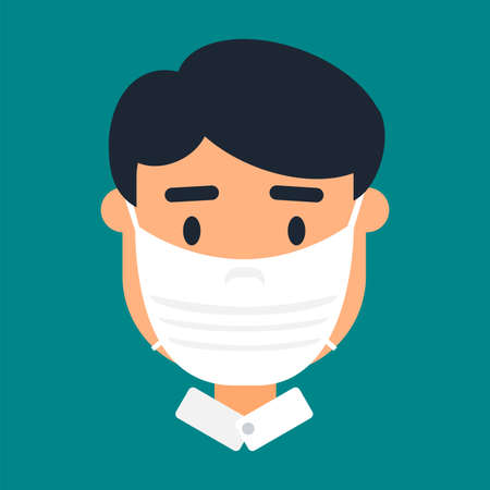 Asian man in face mask vector icon 스톡 콘텐츠 - 166731814