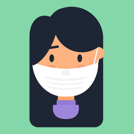 Caucasian woman in face mask vector icon