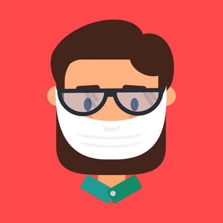 Asian man in face mask vector icon