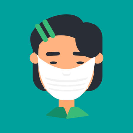Caucasian woman in face mask vector icon 스톡 콘텐츠 - 166731816