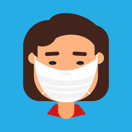 Caucasian woman in face mask vector icon 스톡 콘텐츠 - 166731817