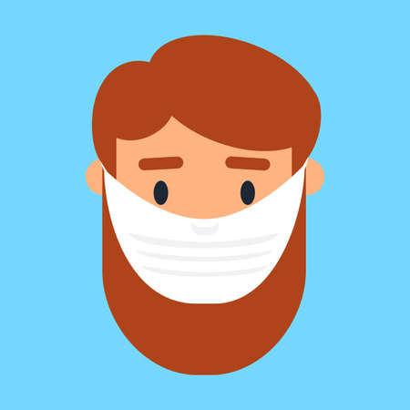 Asian man in face mask vector icon 스톡 콘텐츠 - 166731821