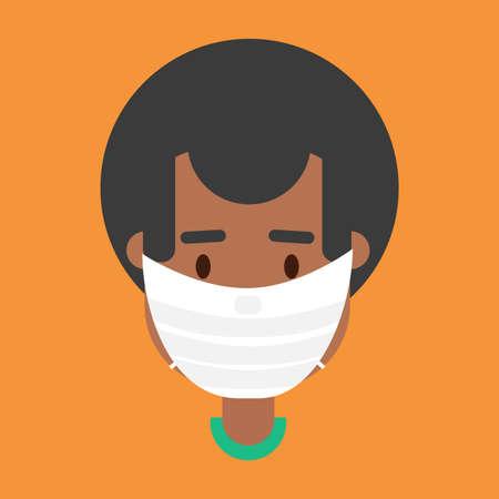 African american man in face mask vector Illusztráció