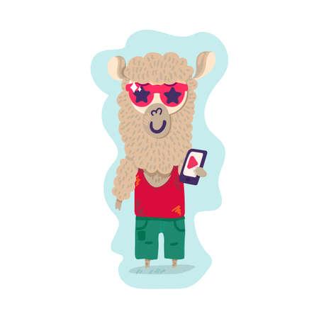 Lama wear style clothes holding smartphone vector Illusztráció