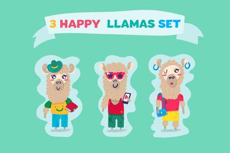 Happy llamas attractive and funny animals vector