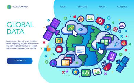 Global data social network landing page vector Illusztráció
