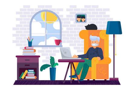 Grandfather working on computer at home vector Illusztráció