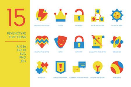 15 human psychotype flat icons set vector