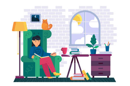 Woman reading book in house library room vector