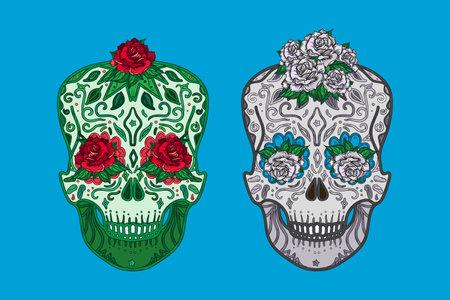 Mexican skulls symbols day of dead set vector Illusztráció