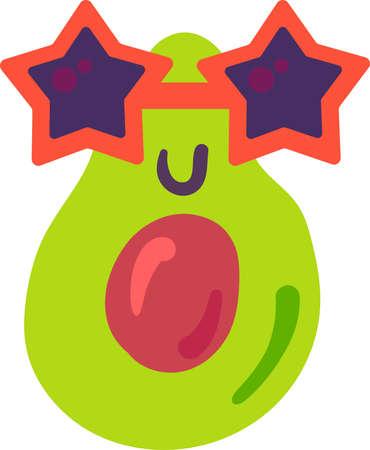 Avocado plant emoji funny happy expression vector