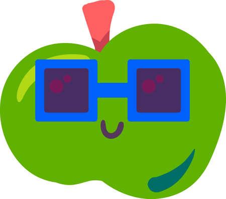 Apple fruit emoji funny happy expression vector 일러스트