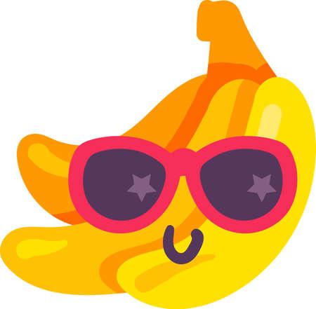 Bananas tropical food emoji happy emotion vector