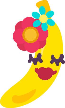 Banana exotic fruit emoji happy expression vector