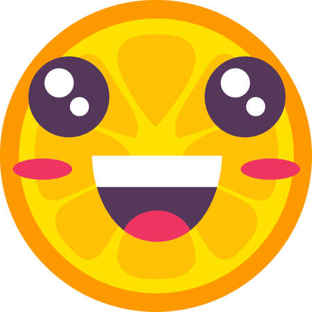 Orange tropical fruit emoji happy emotion vector 일러스트
