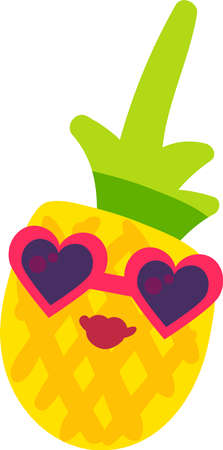 Pineapple lady fruit emoji happy emotion vector 일러스트