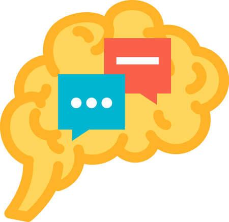 Function introspection of human brain icon vector. Examination of own conscious thought and feeling mind functional. Anatomy intellectual organ. Evaluation and awareness Contour illustration Vektoros illusztráció