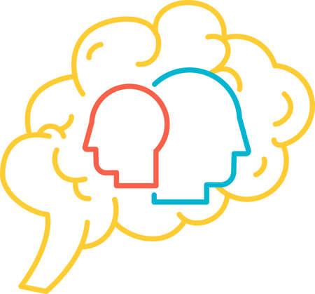 Function psychology of human brain icon vector Illusztráció