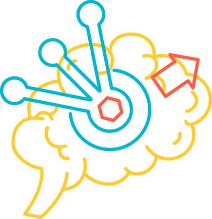 Brain function of solving problem icon vector Illusztráció