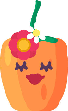 Pepper girl vegetable emoji happy emotion vector. Cute lady in paprika form with closed eyes and lips decorated flowers. Comical funny and elegant emoticon flat cartoon illustration