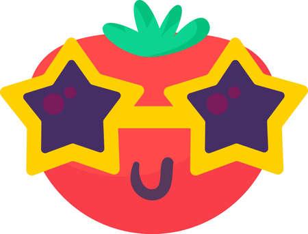 Tomato vegetable food emoji happy emotion vector Illusztráció