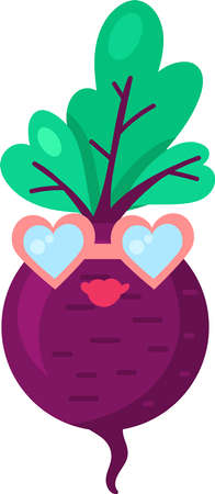 Turnip vegetable food emoji happy emotion vector. Lady smile in healthy vitamin plant root with green leaves shape wearing sunglasses in heart form. Comic funny emoticon flat cartoon illustration Illusztráció