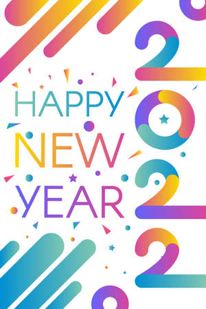Stylish happy new 2022 year template with text in bright gradient color themes Illusztráció
