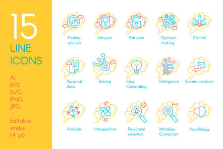 Brain mind function collection icon set vector. Solving and finding solution, introvert and extrovert, generating idea and making decision, analysis and control linear pictogram. Contour illustration Illusztráció