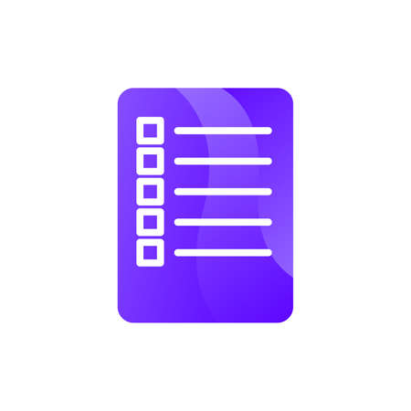Document list or checklist paper sheet icon vector. Form with tasks information for checking achievement concept linear pictogram. Wishlist planning documentation color contour illustration