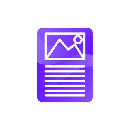 Document with image for presentation icon vector. Reading information about picture auction lot concept linear pictogram. Paper sheet with gallery element color contour illustration