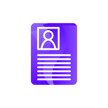 Document employee manager profile icon vector. Cv curriculum vitae future colleague, worker information and identification photography concept linear pictogram. Color contour illustration