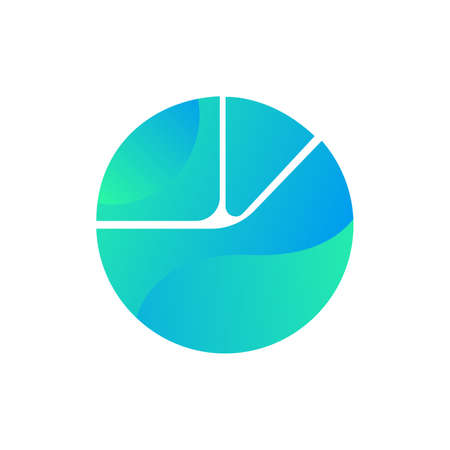Pie chart for report or presentation icon vector. Circle diagram for reporting or analyzing sales concept linear pictogram. Market or finance part percentage infographic color contour illustration Illusztráció