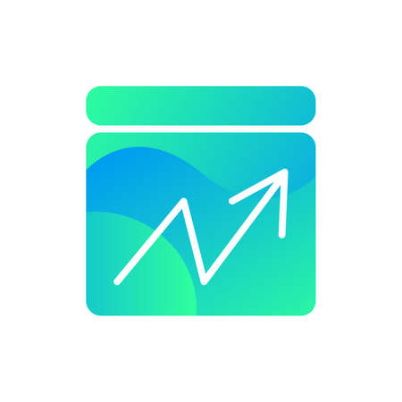 Line chart market progress information icon vector. Financial economy infographic show falling and increasing arrow, analyzing rate concept linear pictogram. Color contour illustration Illusztráció
