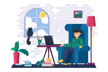 Man freelancer working on laptop at home vector. Young businessman sitting in armchair at workplace and remote work on portable computer. Character business occupation flat cartoon illustration