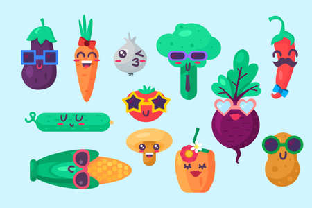 Organic food emoji emotion collection set vector. Chilli and pepper, cucumber and mushroom, corn and tomato, garlic and potato, carrot and turnip. Comic cute emoticon flat illustration