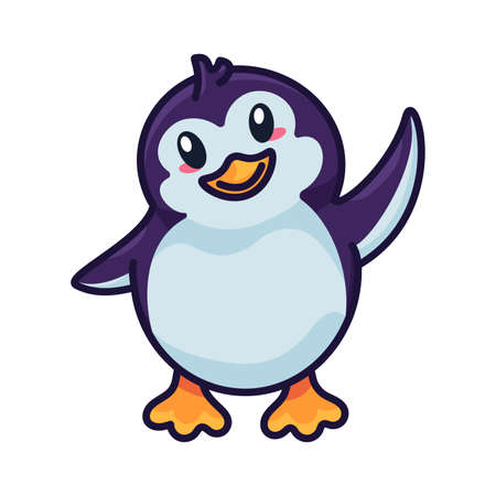 Penguin funny baby bird flapping with wing vector. Happiness aquatic flightless north pole wild animal kid. Positivity emotion beautiful chick welcome gesturing outline flat cartoon illustration Illusztráció