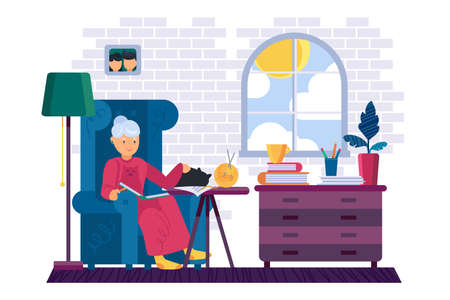 Grandma reading interesting book at home vector. Grandmother stroking domestic animal cat pet and read literature story. Character resting time in library armchair flat cartoon illustration