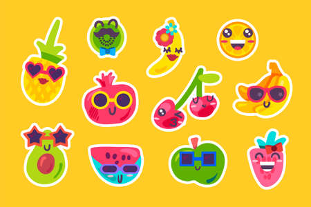 Summer fruits emoji emotion collection set vector. Watermelon and strawberry berries, pineapple and cherry, orange and kiwi, banana and apple. Comic funny emoticon flat illustration Illusztráció