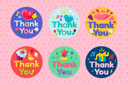 Thank you collection lettering text set vector. Thanks and gratitude phrase decorated bird and butterfly, lips and heart, flower and cloud sky, drink cup and dessert flat cartoon illustration Illusztráció