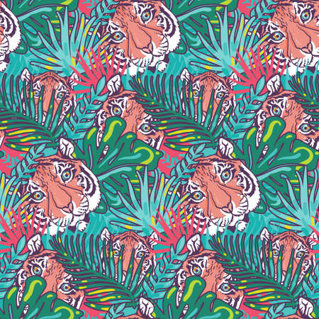 Tiger and foliage forest seamless pattern vector. Animal wild cat head and exotic tree leaf, beast striped muzzle and growing palm. Jungle wildcat life and botanical nature herb flat illustration