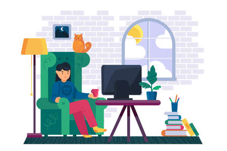Girl watching television channel at home vector. Young woman sit in comfortable chair and watch smart tv online video or films, media digital technology. Character lady enjoy flat cartoon illustration Illusztráció