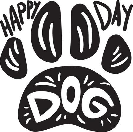 Dog paw print day world holiday celebration vector. Cute pet footprint silhouette with text word. Domestic animal happy tradition festive event monochrome flat cartoon illustration Illusztráció